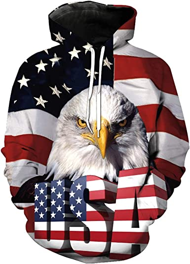 American Zip Up Hoodie Eagle USA Flag Hooded Sweatshirt for Men