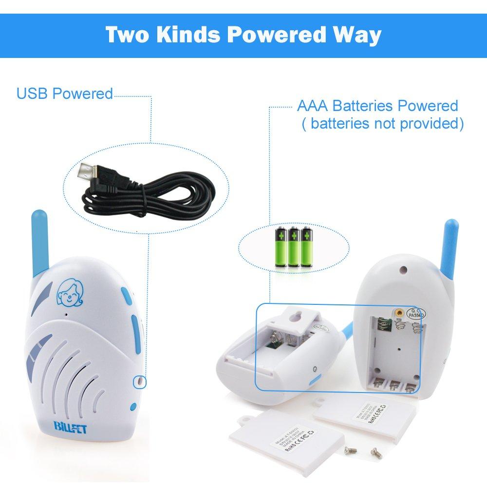 XINYADA Baby Monitors,Audio Baby Monitor,Walkie Talkie,interphoneWireless Digital Audio Baby Monitor 2-Way Talk with Battery & USB Charging(USB Charger)