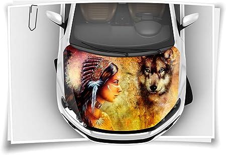 Motorhaube Auto-Aufkleber Wölfe Wolf Wald Nebel Wildnis Folie Airbrush Tuning