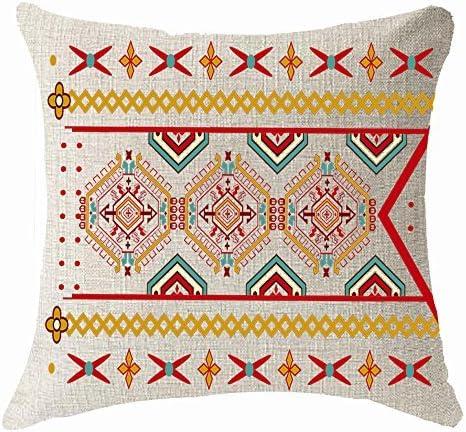 Pillow Cover Funda de Almohada Estilo Europeo Bohemia Boho patrón de Flecha Funda de cojín de Lino y algodón Decorativo 18 x 18 Cuadrado (18 x 18 Pulgadas, 1): Amazon.es: Hogar