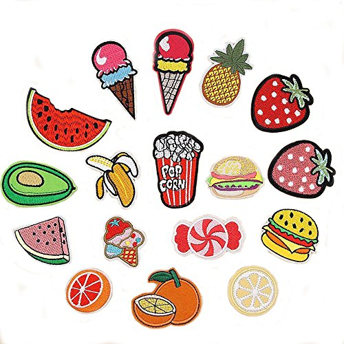 Tidy Patch 16-Piece Garment Applique DIY Decoration Accessories Iron On Embroidered Patch Set (Cool, Diamond, Pencil, Girl, Boom, Oops, Guard-man, Arrow, Super Mushroom, Red Lips, Flamingo, Pink) (Mens Set Travel Embroidered)