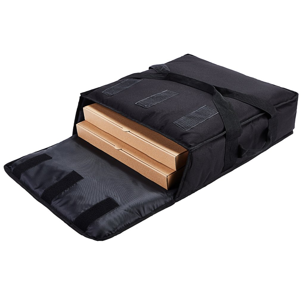 Yopralbags Insulated Food Delivery Bag Pizza Boxes Professional Warmer Carrier Moisture Free for 2-16'' or 2-18'' (Black, 20''X20''X6'')