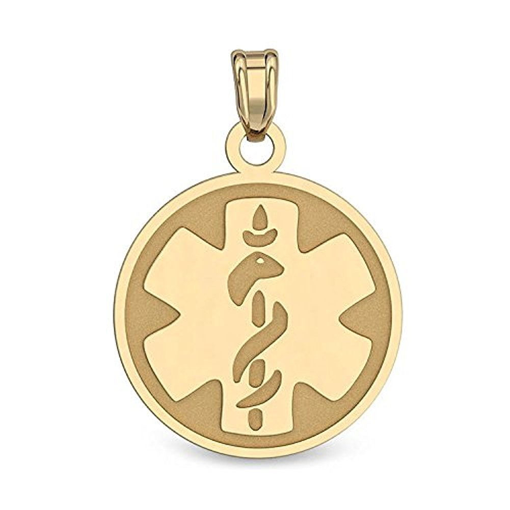 very Small 1//2 Inch X 1//2 Inch PicturesOnGold.com 14K Filled Gold Round Medical Pendant