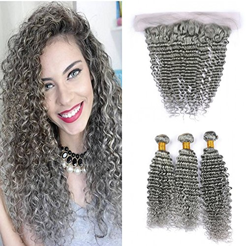 New Deep Wave Weave - Ruma Hair 8A New Gray Deep Wave Hair Weave With 13x4 Ear to Ear Lace Frontal Closure 4Pcs Lot Pure Color Sliver Grey Deep Curly Virgin Human Hair 3 Bundles With Full Lace Frontals (12+12 14 16)