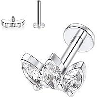 FUNLMO G23 Titanium Labret Studs 16G Lip Piercing Internally Threaded Medusa Ring Cartilage Monroe Piercing Jewelry