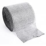 Sequins Wedding 24 Row Diamond Mesh Wrap Sparkle Rhinestones Crystal Ribbon Roll Sparkle Good Crafted Sewing Trim Embellishments Party Decorate for Floral Arranging Width 11.8cm, 10 Yards,1 Roll