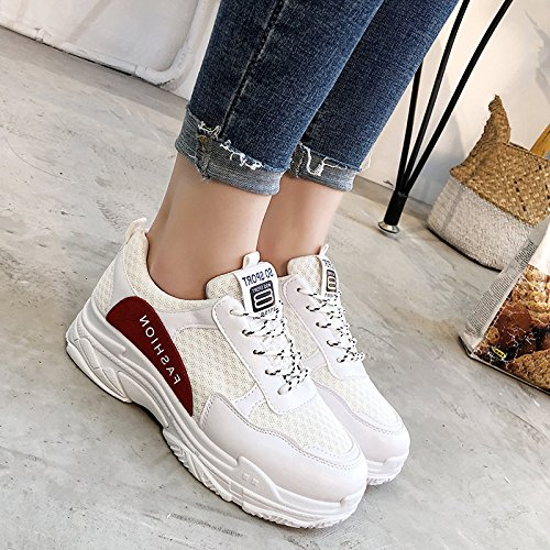 Chicas Blanco Correr Primavera Zapatilla rojo Para Gruesas De Las Calzado Mujeres GAOLIM Ywvqptp