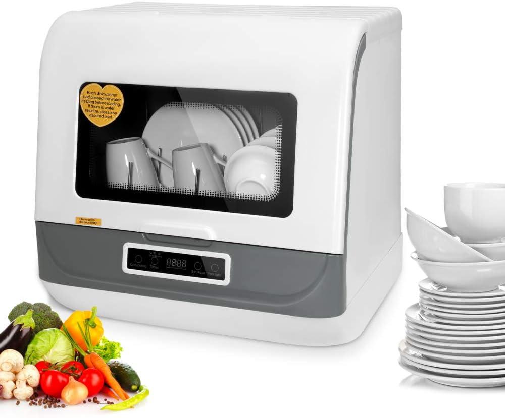 Kacsoo Lavavajillas portátil automático para encimera, mini lavavajillas, 3 modos de lavado de 1200 W, diseño turbo, ahorro de energía, ahorro de agua, antiescalamiento