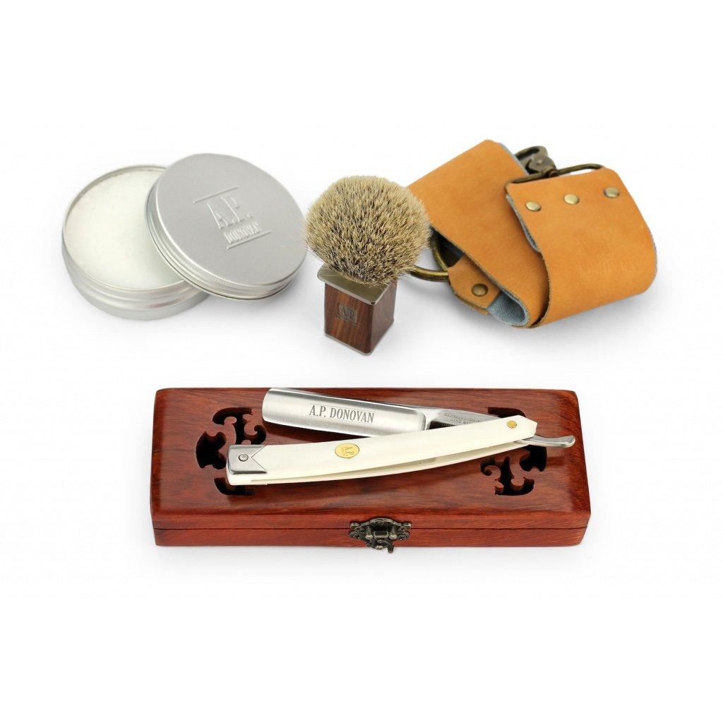 A.P. Donovan - Sólido 7/8 navaja afeitar barbero - mango de plástico blanco - Completo