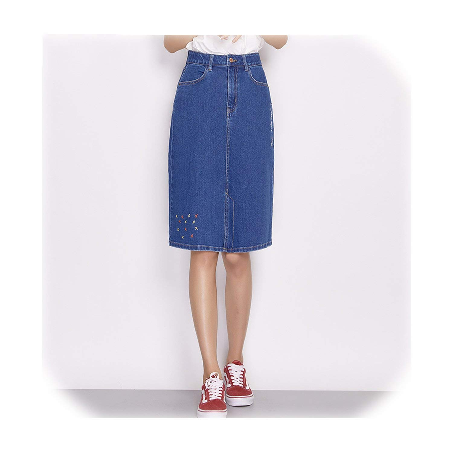color Fairly Spring and Summer KneeLength Embroidery Denim Skirt Women Skirt Plus Size Fashion bluee Aline 6850