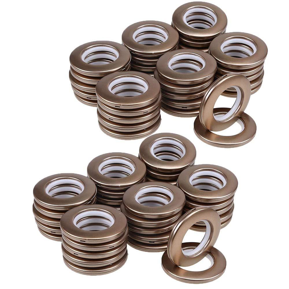 64 Pack Curtain Grommets,CENGOOD Inner Diameter 1-9/16'' Silencer Sliding Ring ABS Plastic Brown by CENGOOD