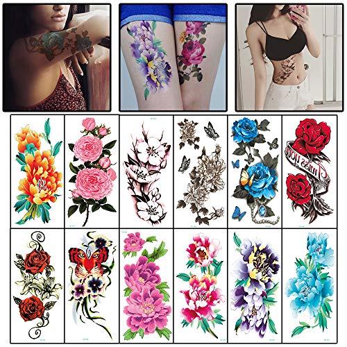 WOKOTO 12 Sheets Arm Large Body Art Temporary Tattoos Paper Waterproof Colorful Flower Fake Tattoo Sticker Kit For Women Girls]()