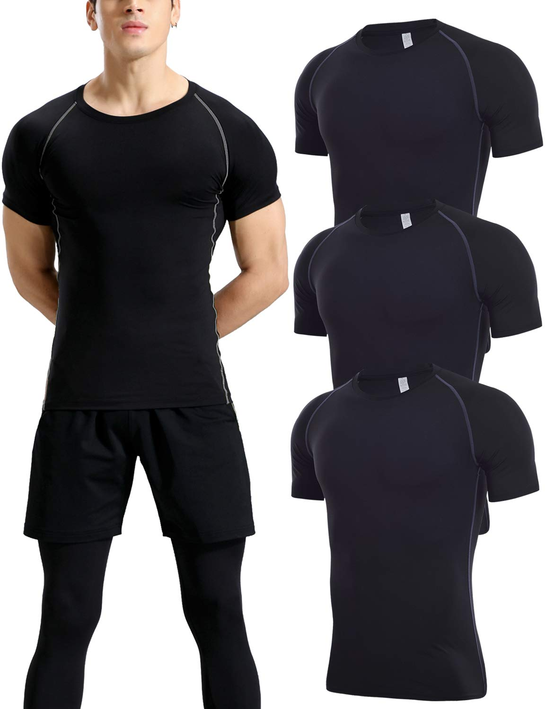 Lavento Men's 3 Pack Compression Shirts Dri Fit