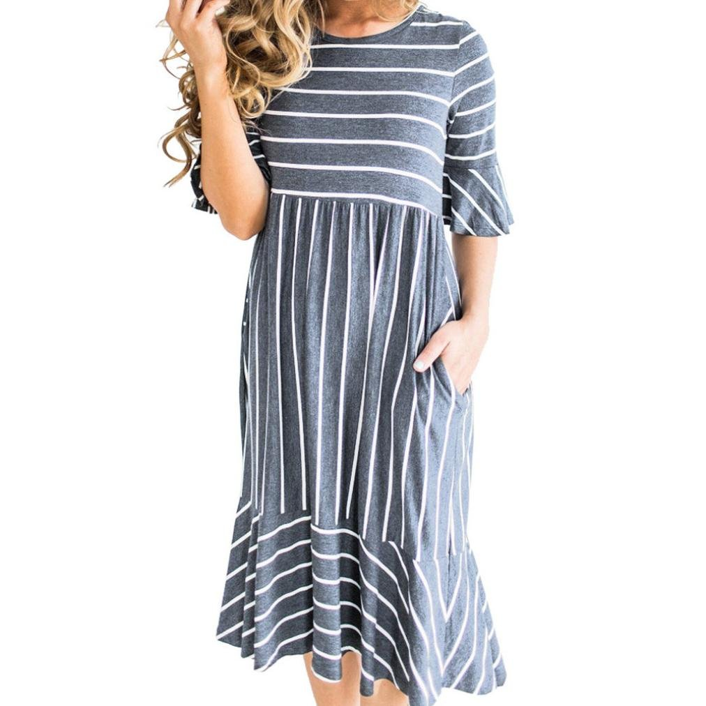Summer Dress, Qisc Women's Striated Print Scoop Neck Pockets High Low Pleated Loose Swing Casual Midi Dress (S, Gray)