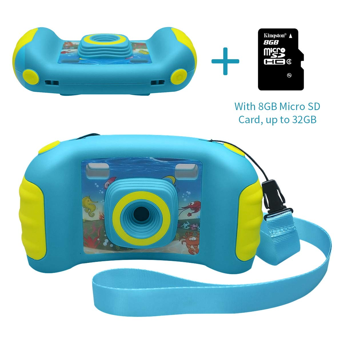 HankeRobotics Kids Digital Camera, with 8GB Micro SD Card, Kids Digital Photo/Video Camera with 4X Zoom, 1.7 Inch Screen Screen Action Camera Camcorder for Children Boys Girls Birthday Gift,Blue by HankeRobotics (Image #8)