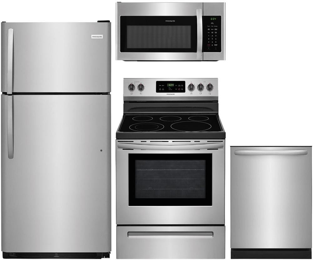 """4-Piece Stainless Steel Kitchen Package with FFTR1821TS 30"""""""" Top Freezer Refrigerator FFEF3054TS 30"""""""" Freestanding Electric Range FFID2426TS 24"""""""" Fully Integrated Dishwasher and FFMV1645TS 30"""""""" Over-the-Range Microwave"""