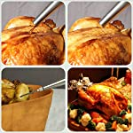 Kaycrown Stainless Steel Turkey Baster With BBQ/Grill Basting Brush, Commercial Grade Quality FDA Rubber Bulb Including Flavor Needle And Cleaning Brush For Easy Clean Up 16 FOOD SAFETY MATERIAL: Both of the Turkey baster and basting brush are made of food grade stainless steel, it won't melt, won't bend, and will last for many years to come. Bristles are made of FDA & BPA-FREE Silicone ( high heat resistant to 450°F/230°C ). BASTING BRUSH: Included an extra long basting brush, to get those juices into every crack and crevice of your succulent roast meats, for a more even distribution of flavor. The bristles will not melt, break or shed into your food! Picking bristles from your food will be a thing of the past! Stainless steel injector needle and cleaning brush included, Add more punch to your meat creations with our flavor injector. Simply screw onto the baster to transform it into a super handy marinade and sauce injector. Add an explosion of flavor to every bite!