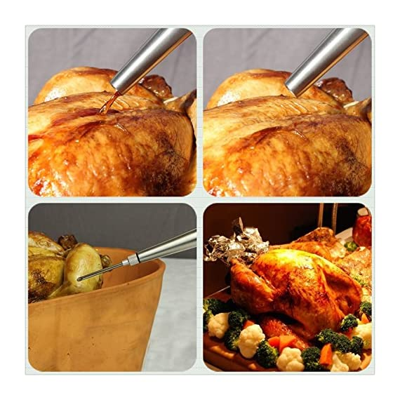 Kaycrown Stainless Steel Turkey Baster With BBQ/Grill Basting Brush, Commercial Grade Quality FDA Rubber Bulb Including Flavor Needle And Cleaning Brush For Easy Clean Up 7 FOOD SAFETY MATERIAL: Both of the Turkey baster and basting brush are made of food grade stainless steel, it won't melt, won't bend, and will last for many years to come. Bristles are made of FDA & BPA-FREE Silicone ( high heat resistant to 450°F/230°C ). BASTING BRUSH: Included an extra long basting brush, to get those juices into every crack and crevice of your succulent roast meats, for a more even distribution of flavor. The bristles will not melt, break or shed into your food! Picking bristles from your food will be a thing of the past! Stainless steel injector needle and cleaning brush included, Add more punch to your meat creations with our flavor injector. Simply screw onto the baster to transform it into a super handy marinade and sauce injector. Add an explosion of flavor to every bite!