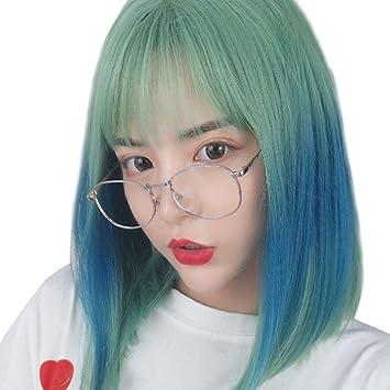 Peluca de pelo corto y lacio, color verde, con cara redonda ...