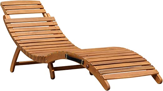 Charles Bentley - Tumbona plegable y reclinable - Forma curva - Madera - Grande: Amazon.es: Jardín