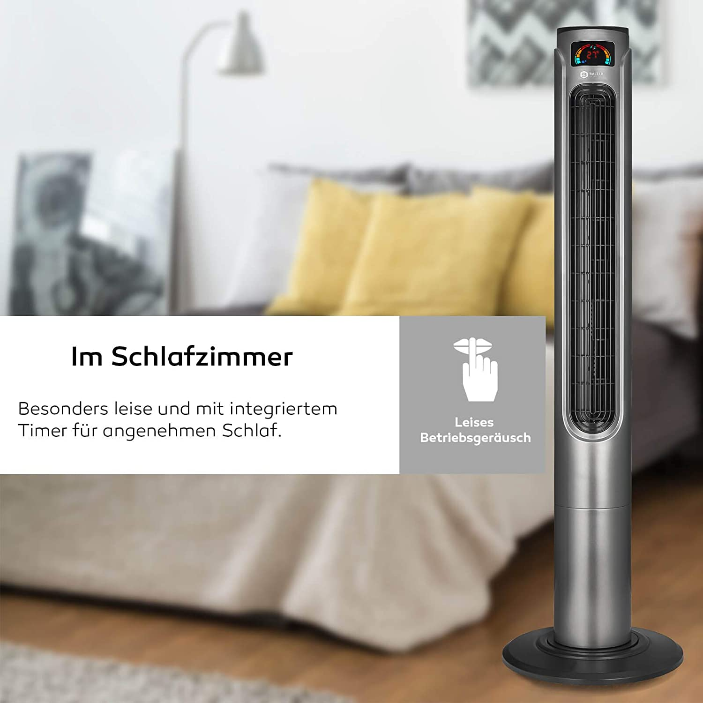 32cm Standfu/ß ✓ Schwarz Balter Turmventilator mit Fernbedienung ✓ Sehr leise ✓ 120cm hoch ✓ 3 Geschwindigkeitsstufen ✓ Wind//Schlafmodi ✓ Timer ✓ 80/° oszillierend ✓ Extra Stabil