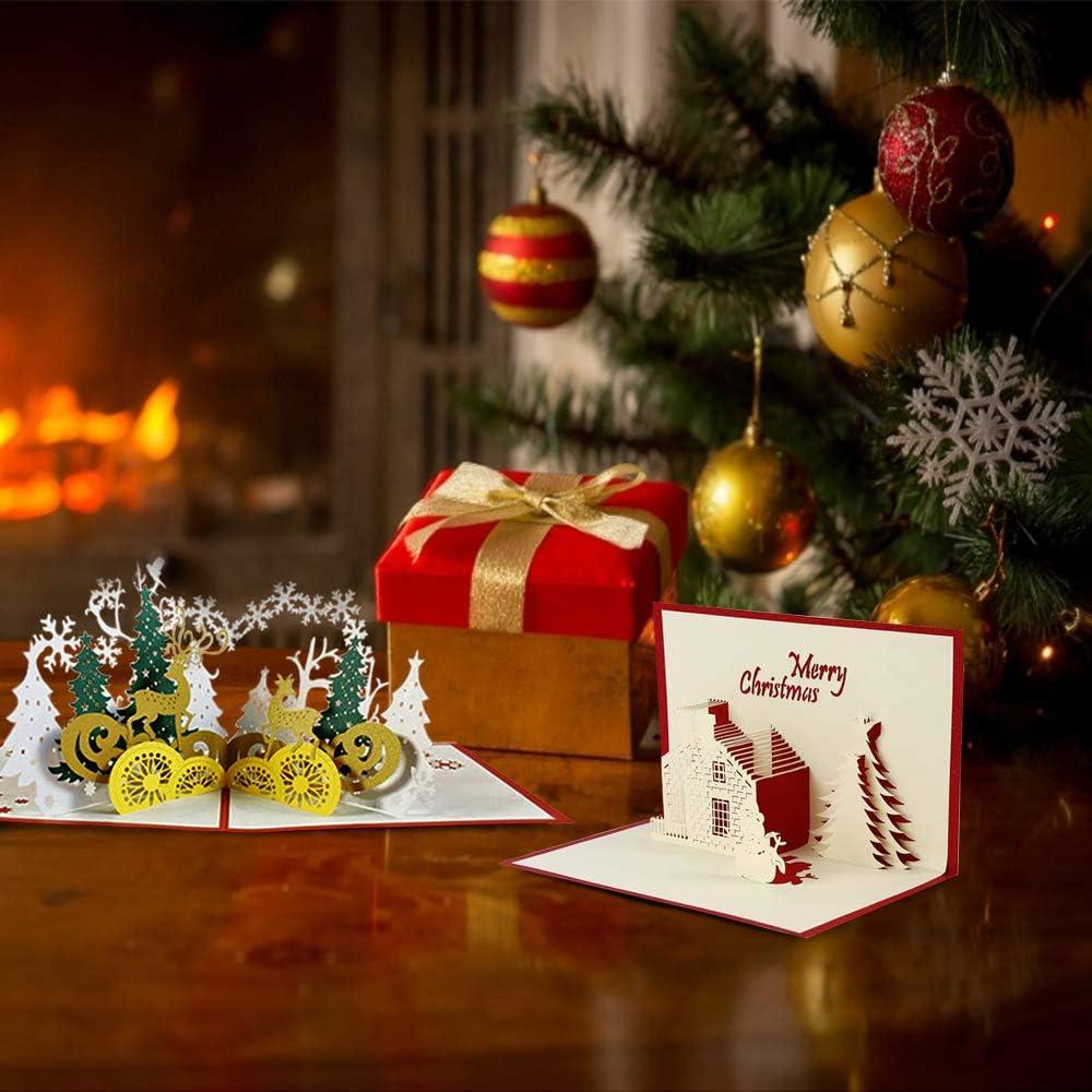 Anyingkai 4pcs Tarjetas de Navidad 3D,Tarjeta de Felicitaci/ón Comunion,Tarjetas de Navidad Pop Up,Tarjeta de Regalo de Chrismas,3D Pop Up,Navidad Tarjeta