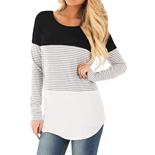 24fe5e5ae2f3a Challyhope Women Mom Casual Pregnant Nursing Tops Long Sleeved Striped  Splice Blouse Maternity Clothes (S