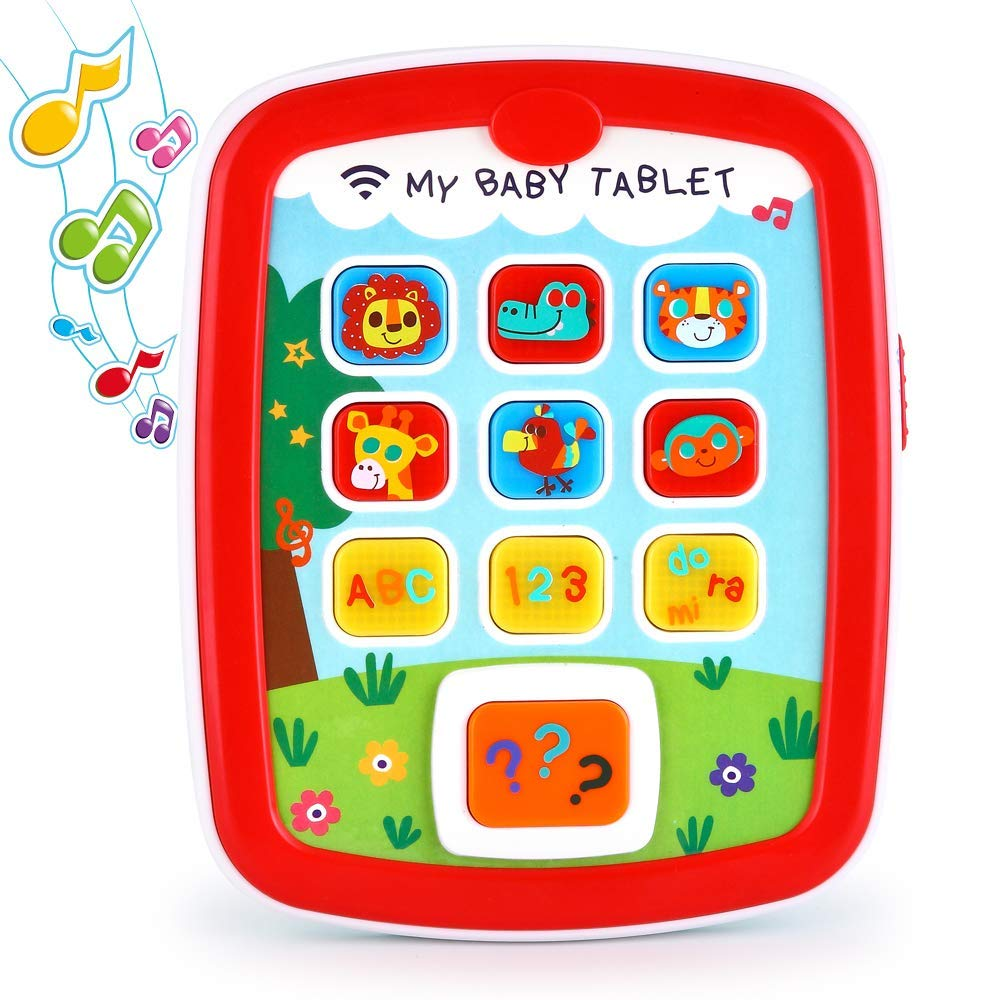 Toddler Learning Tablet for 1 Year Old, VATOS Baby Ipad for 6M -12M -18M+ with Music & Light, Travel Toy Tablet with Easy ABC Toy, Numbers & Color | My First Learning Tablet