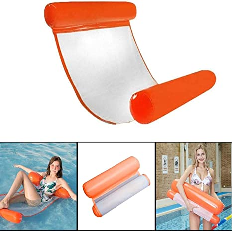 Inflatable Floating Bed Water Hammock Swimming Pool Air Bed Beach Mat,Lounge Foldable Pool Seat for Indoor Outdoor Swimming Pool Spring Float Summer Outdoor Adult Lounger Water SOFE