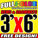 3' X 6' Full Color Printed Custom Banner 13oz Vinyl Hems & Grommets Free Design By BannersOutlet USA