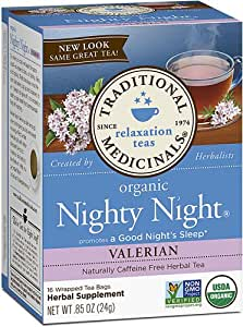 Traditional Medicinals Organic Nighty Night Valerian Tea -- 16 Tea Bags - 2 pc