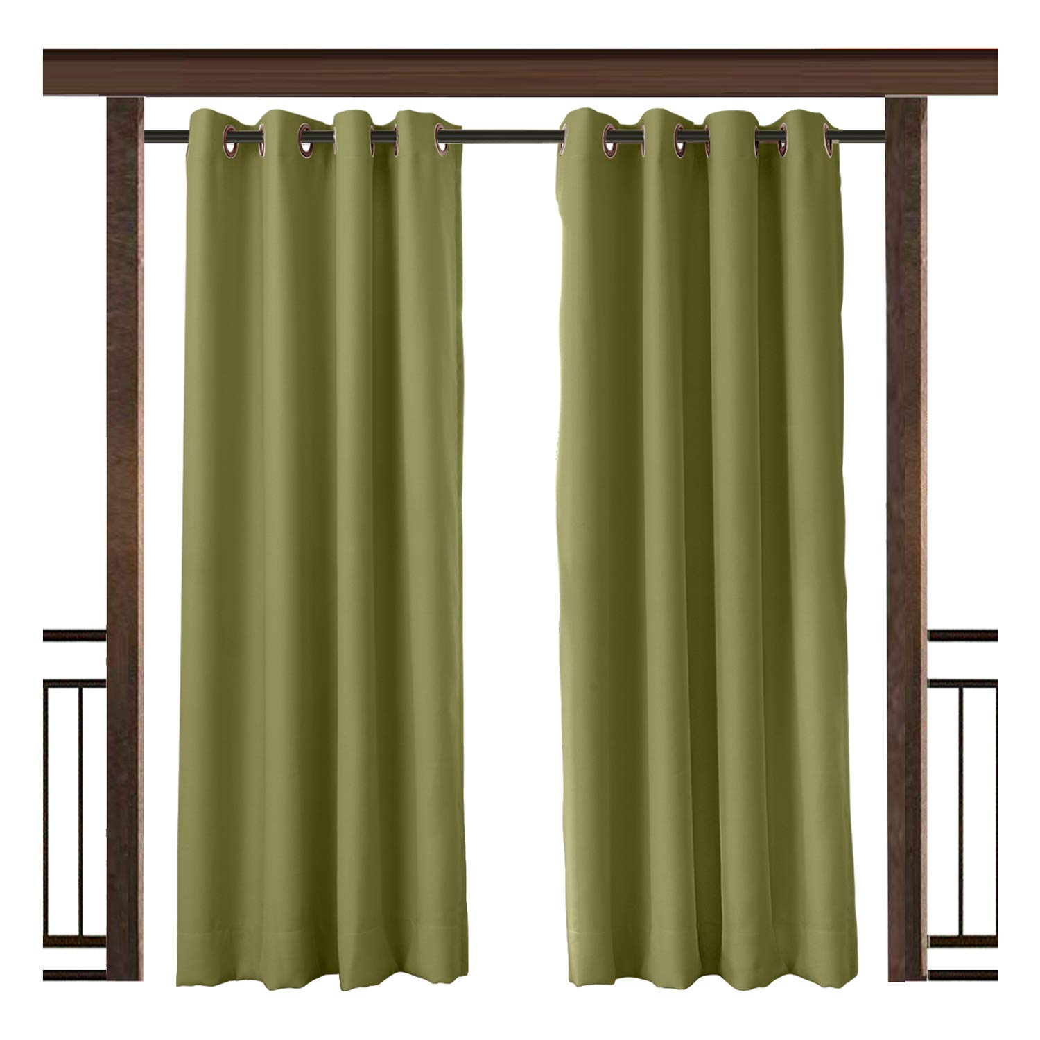 TWOPAGES Outdoor Curtain Waterproof Grommet Drape Green 100 W x 108 L Inch Front Porch Pergola Cabana Covered Patio Gazebo Dock Beach Home (1 panel)