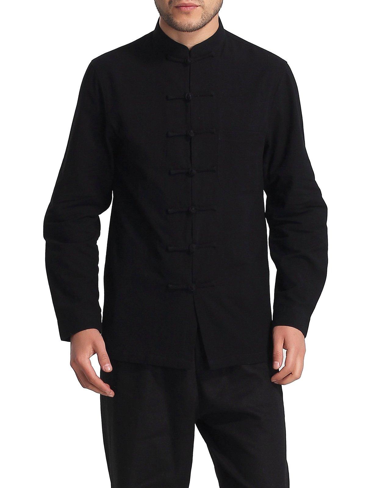 Bitablue Men's Chinese Traditional Style Cotton Shirt (Black, Large)
