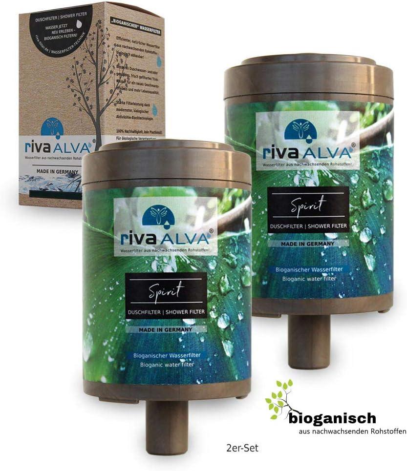 RivaALVA Spirit - Cartucho de filtro de ducha sin plástico, biogánico Riva con piedra mineral de Schungit energetisierende, BAKTERIZID
