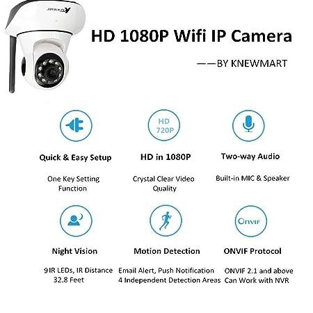 Cámara IP wifi Full HD 1080P Cámara IP de seguridad Cámaras de vigilancia Sistemas de seguridad para el hogar Detección Movimiento 2 Vías de audio Visión ...