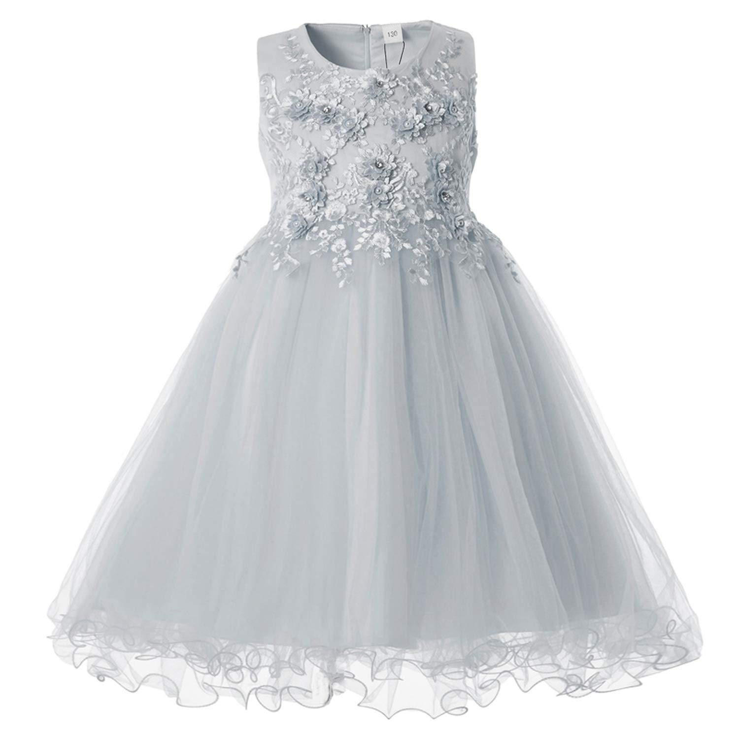 26fd57fc580 Amazon.com  Flower Girls Dress Wedding Party Dresses for Kids Pearls Formal  Ball Gown 2018 Evening Baby Outfits Tulle Girl Frocks
