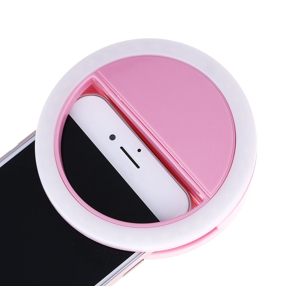 Mmrm Clip on Selfie Ring Light With 3 level Brightness For Smart Phone Camera Round Shape Pink