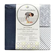BreathableBaby | Classic 3 Piece Crib Bedding Set | 1 Navy Mesh Crib Liner & 2 Matching Fashion Crib Sheets | Helps Prevent Arms and Legs from Getting Stuck Between Crib Slats | Navy