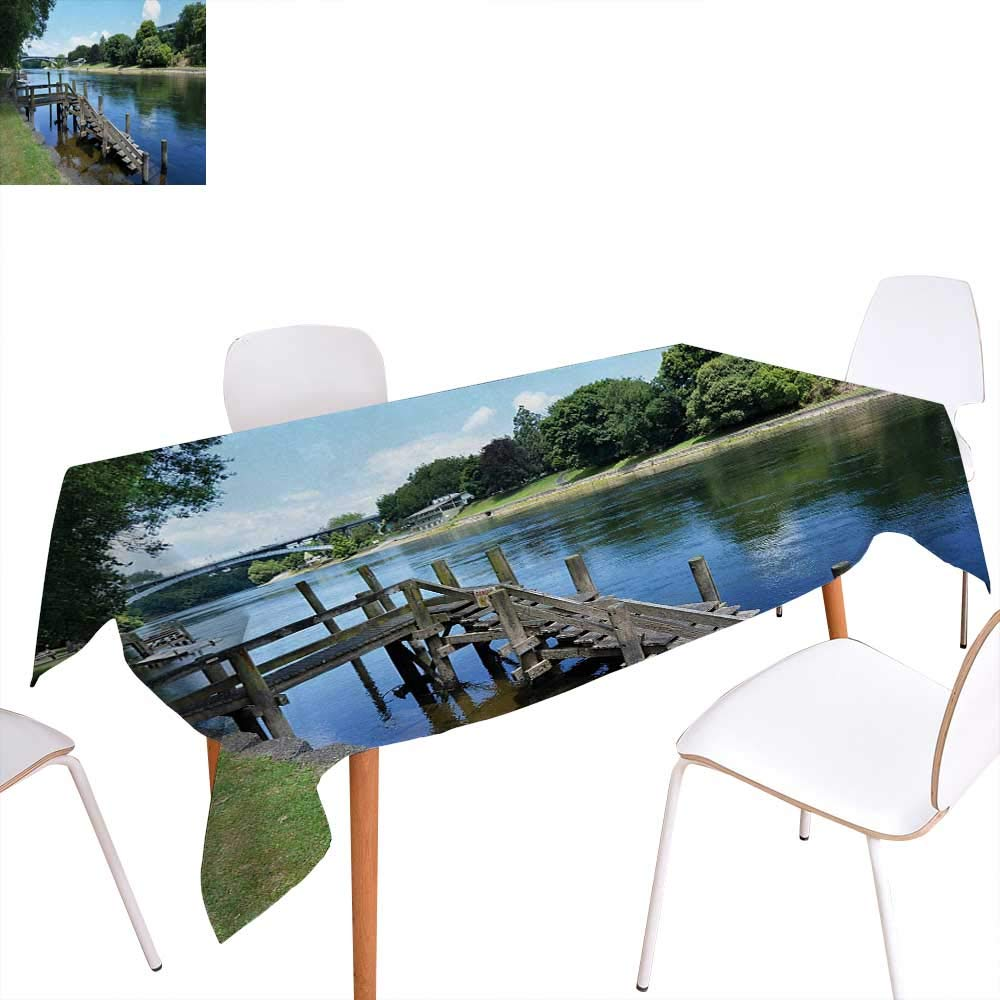 Outdoor dinning tabletop decoration waikato river hamilton city new zealand holiday destination travel landmark table cover for kitchen 70x90 green blue