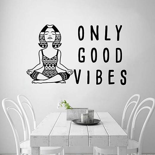 pegatina de pared frases Only Good Vibes Meditación Yoga ...