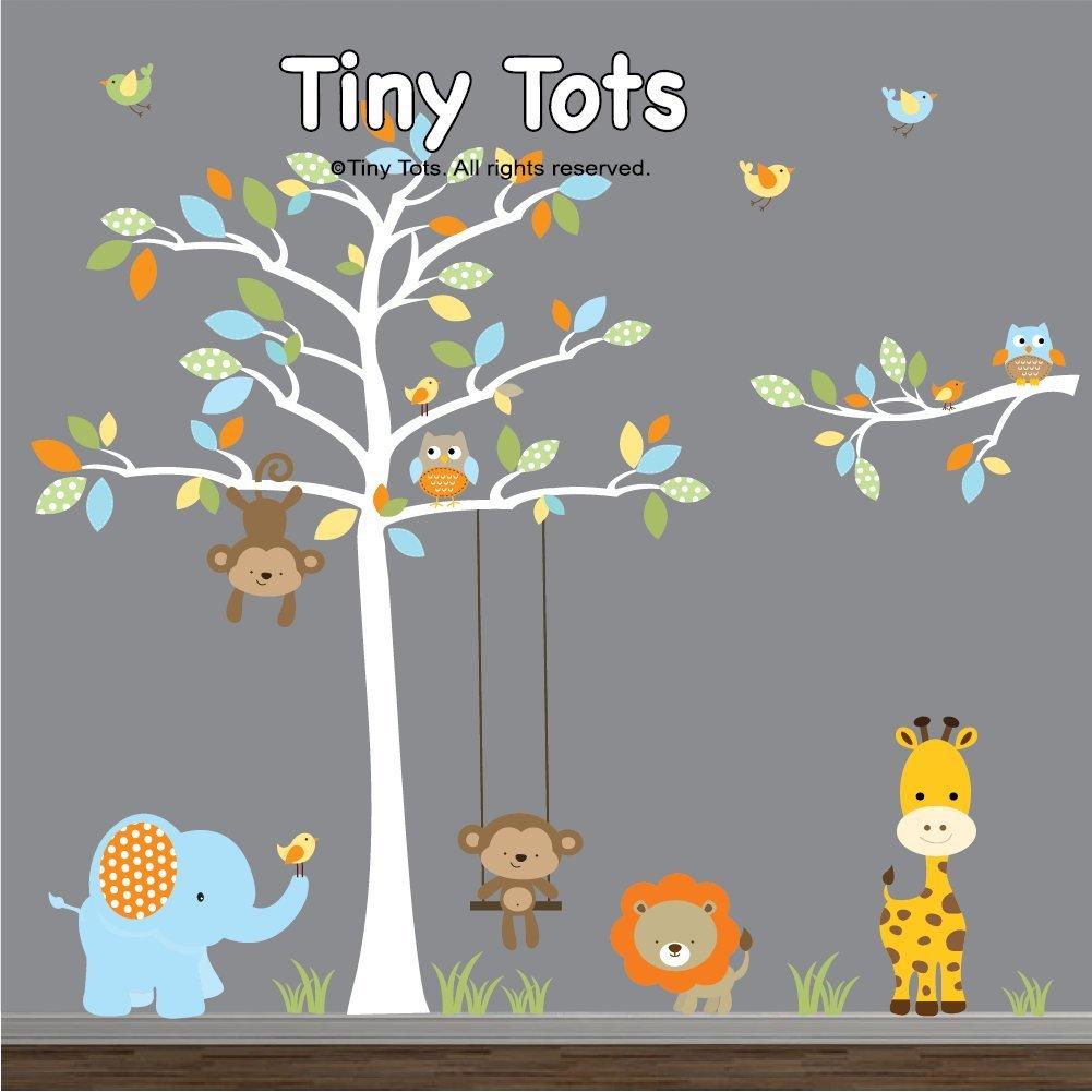 Jungle Stickers, Nursery Jungle Wall Decals, Wall Decals Jungle set with Elephant, Giraffe, Lion, Monkeys, Tree Decal with Branch Decal-Nursery Wall Decals Stickers by TinyTots Wall Decals