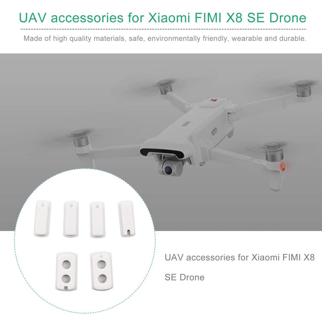 Jiobapiongxin 4 Pezzi Cuscinetti per Fusoliera Corpo in Silicone Drone Tappetino in Silicone e 2 Pezzi Piedi in Gomma Piedini in Gomma per Accessori Drone FIMI X8 SE RC Bianco JIO-T