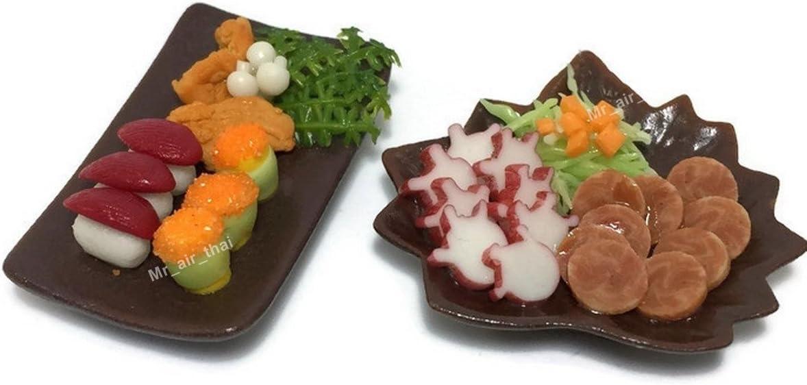 Mr_air_thai_Miniature 2 Miniature Sushi Set Food Dollhouse Drink Japan Food Shshi Bento Steak Salad Vegetable Fruit Decor Furniture ( Sushi,Salad Steak) F14