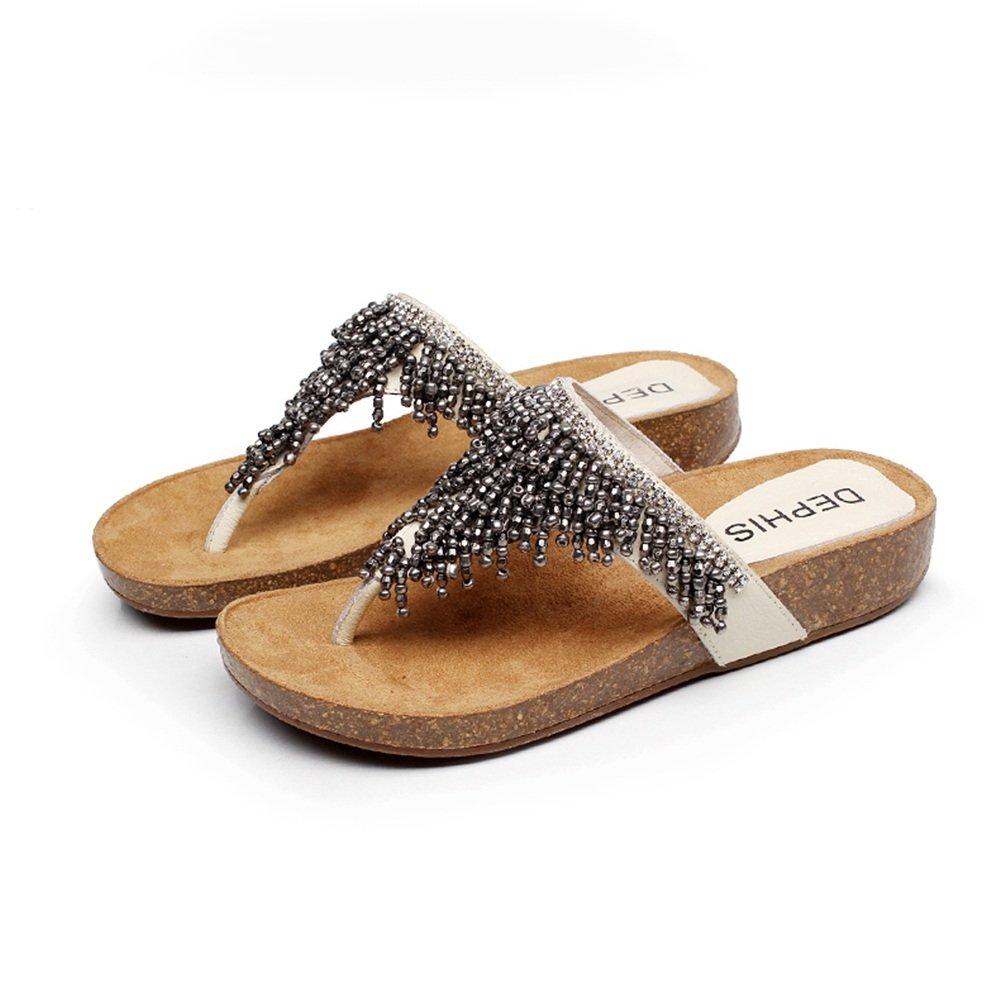 Sandalen Amazing Weibliche Flachen Boden Sommer Prise Wedge : Casual Beach Schuhe (Größe : Wedge EU39/UK6.5/CN40) - d87607