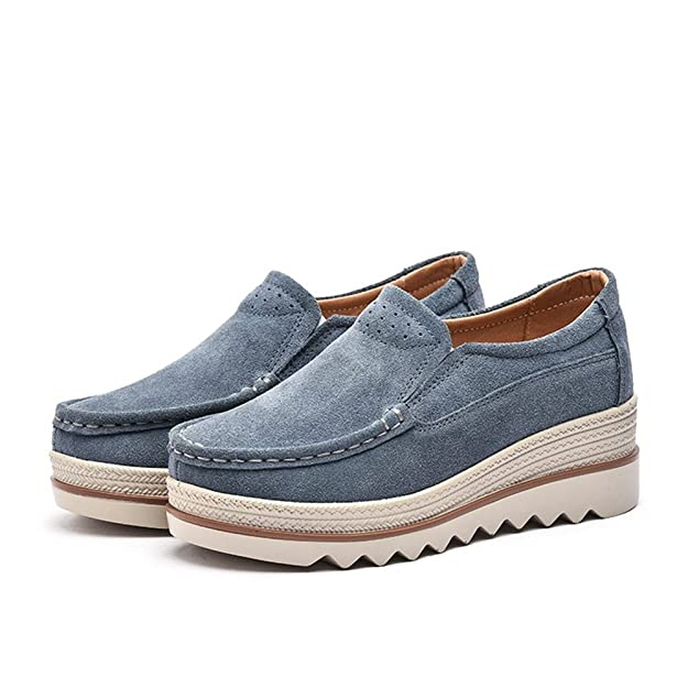 Amazon.com: SUNROLAN Mujer Plataforma Zapatillas Slip On ...