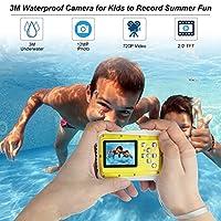 Bybrutek Kids Camera, 12MP HD Children Underwater 3M Waterproof Action Camera Camcorder, 2-Inch LCD, 4x Digital Zoom, 5 MP CMOS Digital Camera from BYbrutek