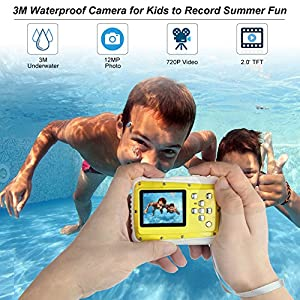 Bybrutek Kids Camera, 12MP HD Children Underwater 3M Waterproof Action Camera Camcorder, 2-Inch LCD, 4x Digital Zoom, 5 MP CMOS Digital Camera from BYbrutek