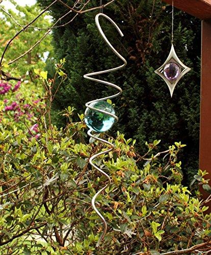 Edelstahl Kugelspirale -Feng Shui Spirale- mit 50mm massiver Farbglaskugel -Farbe wählbar- Hamburg-Trade