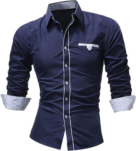 Camisa de Vestir de Corte Regular con Cuello de Solapa para Hombres Botones de Manga Larga Camisas con Bolsillo (M-XXXXL) para Trabajo Diario de Negocios (Color : Azul Oscuro, tamaño : XL):