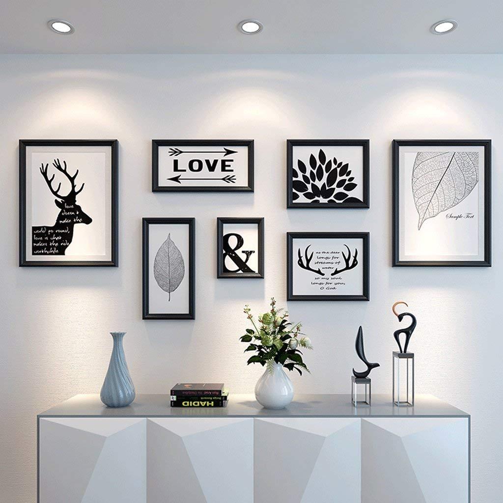 黒額縁セット写真壁の装飾的な絵画コンチネンタルリビングルームの寝室の写真壁の写真フレームの壁の組み合わせ(カラー:グループC)  Group C B07TF4Z2TT